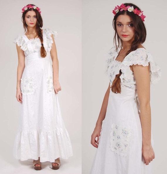 Vintage weiß PRAIRIE Maxi Kleid junge EDWARDIAN von ...
