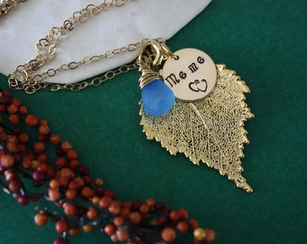 Personalized Grandma Necklace, Leaf Necklace, Grandma Charm Necklace, Birch Leaf, Gold Necklace, Mothers Day Gift