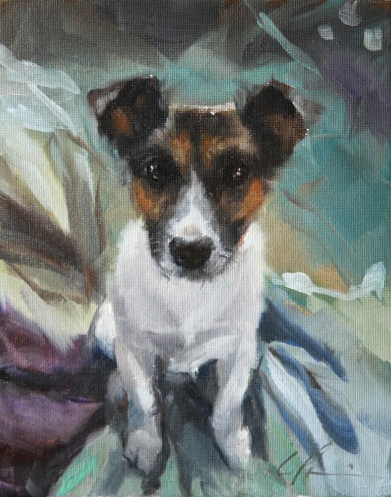 Alert Cute Jack Russell Terrier On Aqua And Chocolate Brown