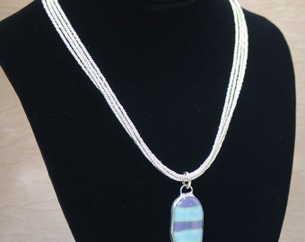 Multi Strand Silver Seed Bead Necklace