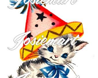 Vintage Digital Download Kitty Party Hat Birthday Kitten Image Collage Large JPG