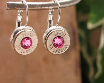 OCTOBER Birthday - Breast Cancer Awareness - Bullet Jewelry - Silver Bullet Casing Stainless Leverback Earrings - PINK Swarovskis