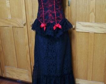 SALE, Strapless Dress, Corset Dress, Black Corset dress,  Peplum Dress, Costume, size M