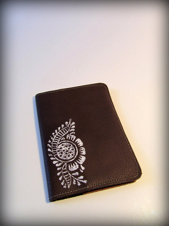 Passport Cover - Paisley Block Printed Brown Salvaged Top Grain Leather
