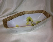 Handpainted Nippon Candy Dish Gold Edge Rectangular Shape