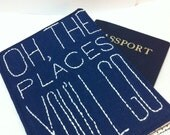 Passport Cover, Oh, the Places You'll Go, Passport Wallet, multi compartment, Passport Cover