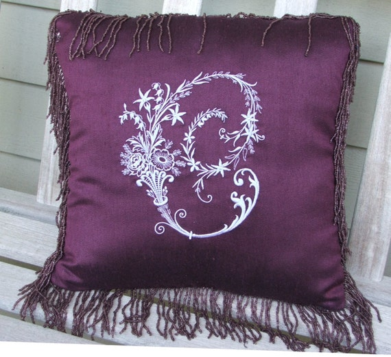 Pillow, Monogram, Embroidered With Victorian Letter, MADE TO ORDER