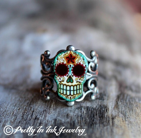 Day Of The Dead Filigree Sugar Skull Ring In An Antiqued