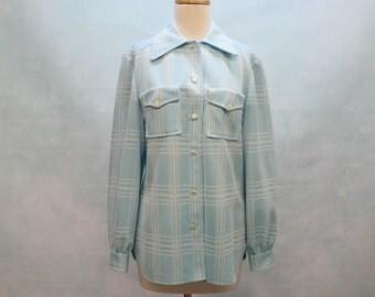 SALE - 70's Double Knit Plaid Shirt / Light Blue / Womens / Medium