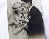 Vintage French Couple of Lovers Happy New Year Postcard - Collectible Antique Black and White Photography - Valentine Greetings Card