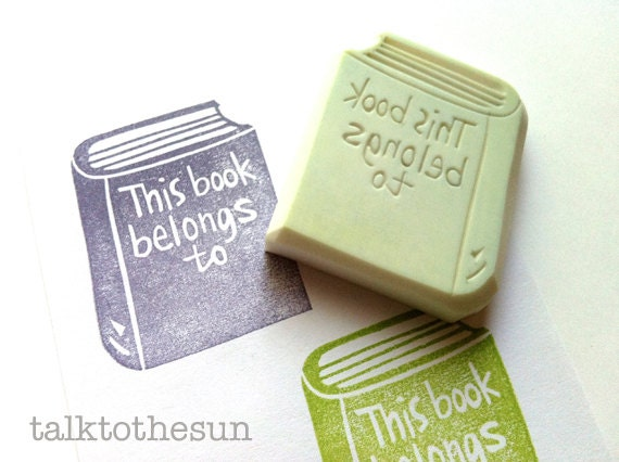 personalized bookplate stamp. custom made book stamp. this book belongs to stamp. hand carved rubber stamp. stamping on your books texbooks