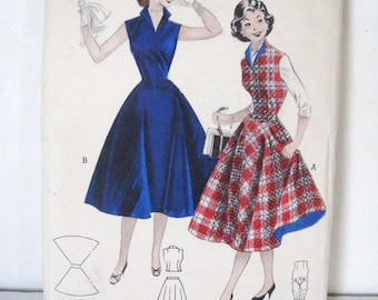 Unused Vintage 50s Pattern, 2 Piece Dress Separates Set, Full Skirt & Fitted Weskit Blouse, Butterick 6719 Quick Easy, Uncut FF, Bust 34