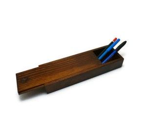 Wood pencil case Slide top Box
