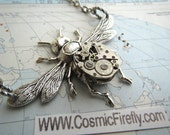 Steampunk Necklace Antiqued Silver Bee Necklace Tiny Vintage Watch Movement Primitive Gothic Victorian Watch Parts Jewelry