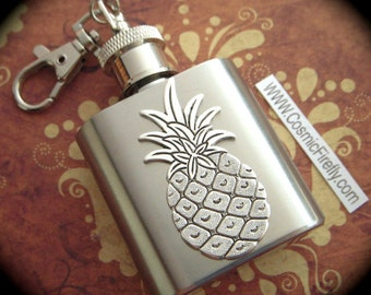 Mini Flask Keychain Silver Pineapple Flask 1 Ounce Gothic Victorian Tiki Steampunk Gift Retro Style