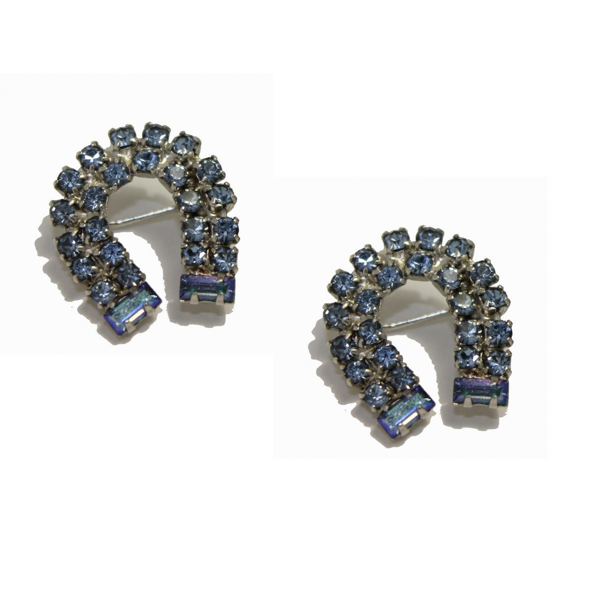 vintage Weiss Horseshoe blue rhinestone brooch by mad4modvintage