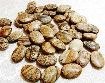 Brown Jasper  Gemstone Bead 10 Beads  Picture Jasper Oval Necklace Bracelet Earring Jewelry Supply #107