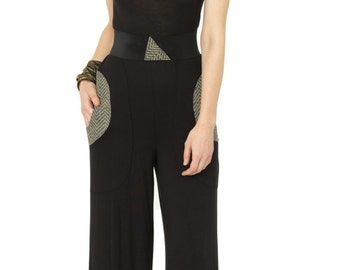 One Shoulder Jumpsuit with Vinyl Armhole and Pocket Trim