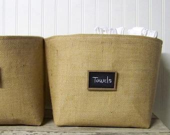 large burlap chalkboard basket - burlap baskets - natural - organize - storage bin - linen- fabric container - fabric baskets -