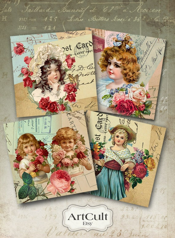 Printable Images EPHEMERA COASTERS 3.8x3.8 inch digital download Sheet Art Cult print-it-yourself vintage Greeting cards Magnets Gift tags