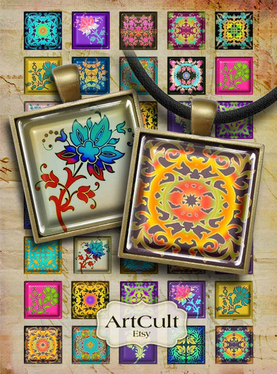 1x1 inch and 7/8x7/8 inch size images ORNAMENTS Digital Collage Sheet for square glass and resin pendants, paper craft, magnets, jewelry
