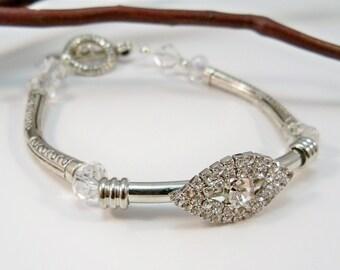 Women's Silver Bracelet, Rhinestone Bracelet, Swarovski Crystal Bracelet, Silver bracelet, Handmade Jewelry
