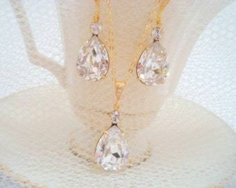Gold wedding necklace, Bridesmaid necklace, Bridal crystal necklace, Wedding jewelry, Swarovski crystal necklace, Bridal earrings, Simple