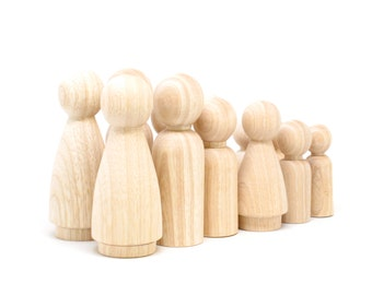 FAIR TRADE - 2 Families  of 6 - Unpainted Colombian Wooden Peg Dolls in a Bag -
