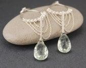 Green gem chandelier earrings - green amethyst and pearl earrings, sterling silver, wire wrapped jewelry handmade, long dangle earrings