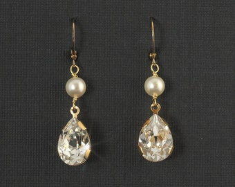 Gold Bridal Drop Earrings, Crystal Rhinestone Wedding Jewelry, Rhinestone Teardrop Pearl Bridal Earrings Jewelry-- ELIZABETH