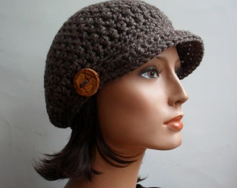 Slouchy Newsboy Cap Brown - Hemp Wool Eco Friendly Woodland hat Hippie Boho tree branch button Autumn Fall Winter Fashion  Made to Order