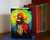 Cheetah Fantasy Cat Art, Warrior Maiden with Magical Sword, CLEARANCE Card