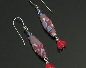 Red Flower Dangle Earrings, Unique Floral Drop Earrings, Red Blue, Jewelry Gift for Girlfriend, Polymer Clay Earrings, Handmade Gift for Her