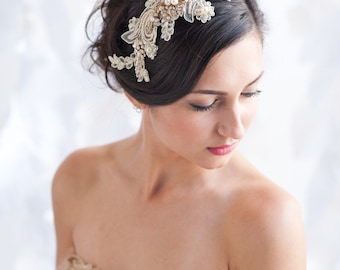 Gold lace headpiece, lace headpiece, rhinestone headpiece, bridal, gold - style 5012 - FREE SHIPPING*