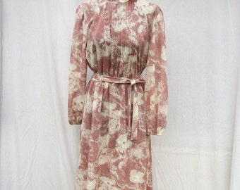 80s Sheer Dusty Mauve Floral Day Dress size Medium to Large