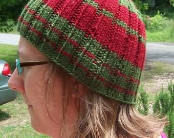 Pi-Striped Ribbed Handknit Hat