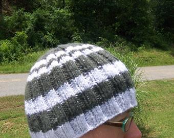 Pi-Striped Ribbed Handknit Hat - Gray & White w/ Sparkles