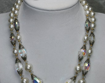 Cut Crystal and Faux Pearl Necklace and Earring Set - Vintage Choker Set