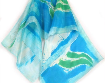 Hand painted silk scarf in Aqua. Silk scarf painted with abstract flowers. Long summer multicolored scarf. Painting on silk by Dimo