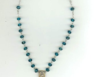 Handmade Rosary Necklace w/OurLady of Quadaloupe in Tourquiose Cut Glass Crystal