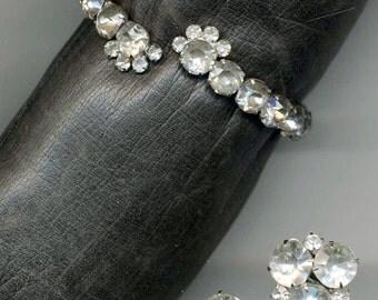 Coro Flex Bracelet and Earring Set HUGE Rhinestones / Vintage Jewelry