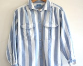 VINTAGE Denim Stripe Longsleeve Button Up Beach Top Double Breast Pockets Collared