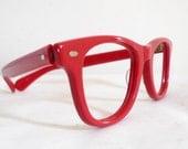 True Vintage Red Wayfarer-style USA Eyeglasses or Sunglasses Frames / Bigger Eyewear