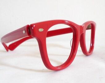 True Vintage Red Wayfarer-style USA Eyeglasses or Sunglasses Frames / Bigger Eyewear on sale