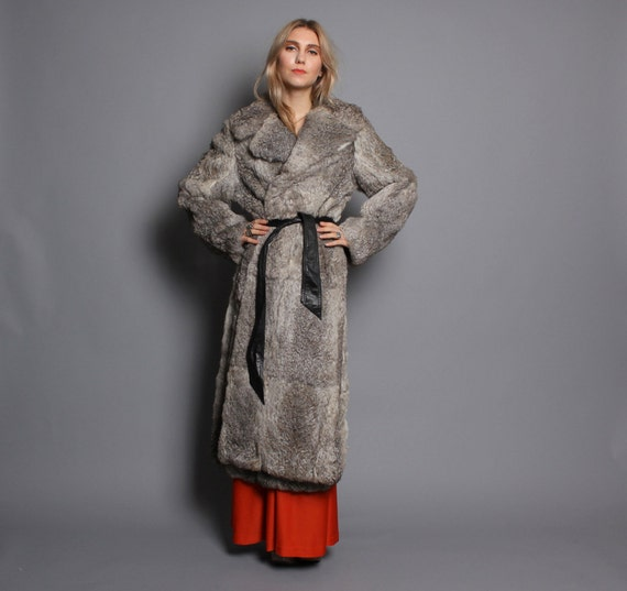 70s Real FUR COAT / Belted Rabbit Fur Glam Trench, s-m