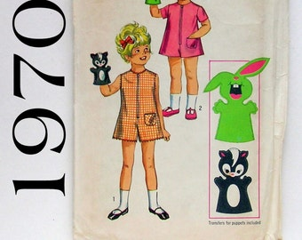 Girls' Romper-Jumpsuit and Hand Puppets - Simplicity 8763 - Size 5 Vintage Sewing Pattern