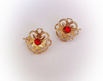 Vintage Metal Flower Earrings with Red Rhinestone Centers Clip On
