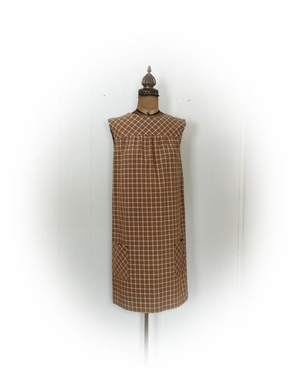 Vintage 1970s  Dress Brown Plaid from Sears