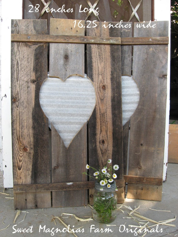 Decorative Metal Shutters For Living Room Interior Houston Tx: Wood Shutters Corrugated Metal Heart Centers Rustic
