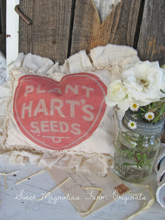 Vintage Feedsack Sawdust Pillow Farmhouse Style Feed Sack Seed Advertising Cottage Shabby Garden Ruffled Red Heart..... PLANT HART'S SEEDS